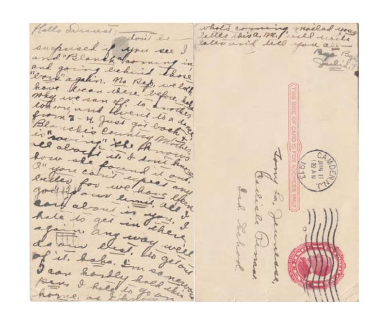 Letter from Julia Hardin to Tony La Jeunesse